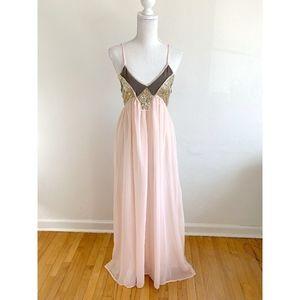 Lulu's Pink Maxi Dress w Gold Sequins {AP2}